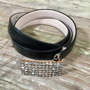 Accessories - Belt rhinestone buckle lizard croc print leather L